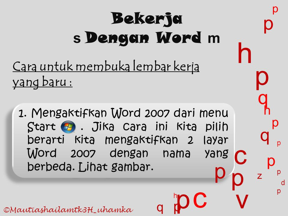 h c p c p v p p p q q Bekerja p s Dengan Word m p