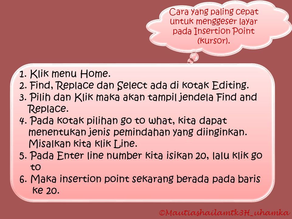 2. Find, Replace dan Select ada di kotak Editing.