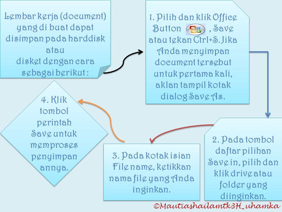 Lembar kerja (document) yang di buat dapat disimpan pada harddisk atau