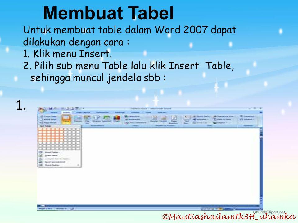 Membuat Tabel Untuk membuat table dalam Word 2007 dapat dilakukan dengan cara : 1. Klik menu Insert.