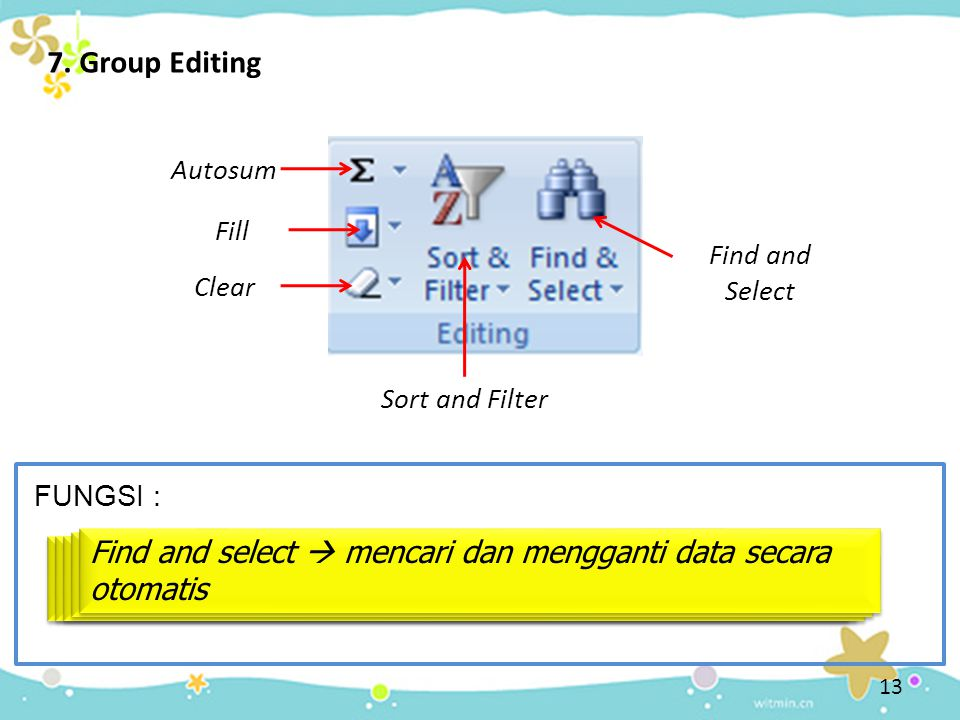 7. Group Editing Autosum. Fill. Find and Select. Clear. Sort and Filter. FUNGSI :