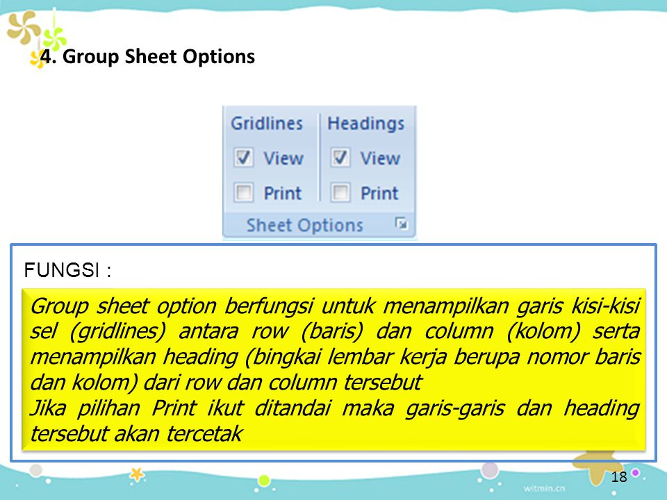 4. Group Sheet Options FUNGSI :