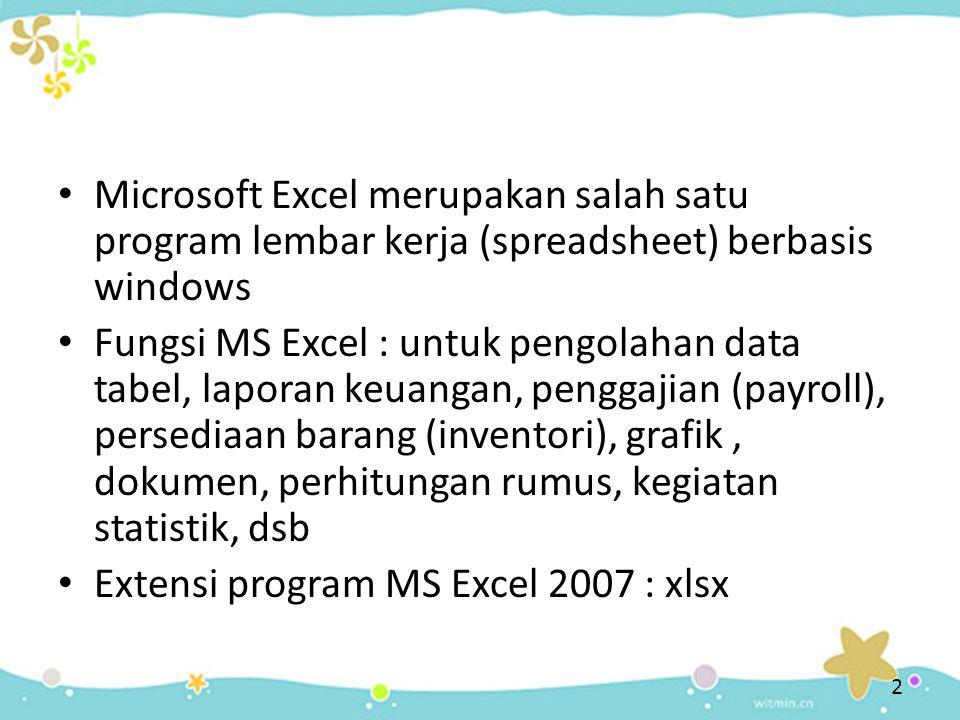 Microsoft Excel merupakan salah satu program lembar kerja (spreadsheet) berbasis windows