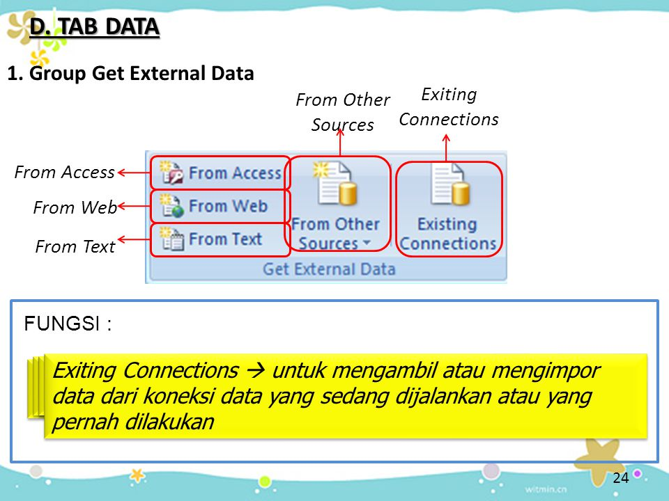 D. TAB DATA 1. Group Get External Data