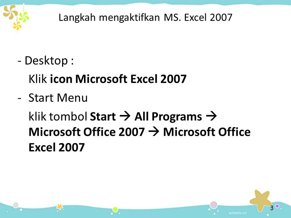 Langkah mengaktifkan MS. Excel 2007
