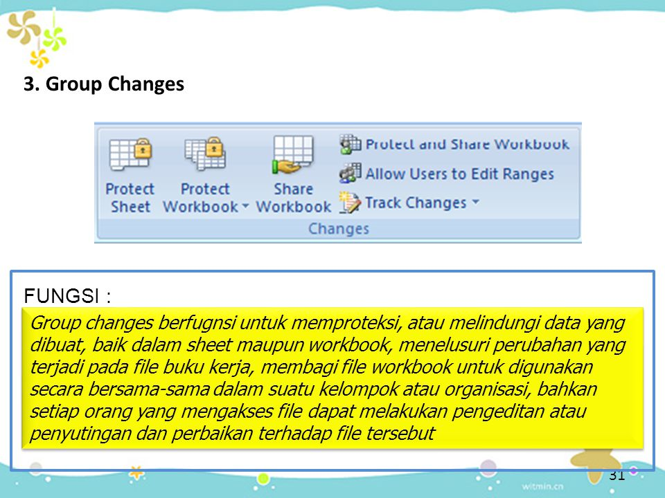 3. Group Changes FUNGSI :