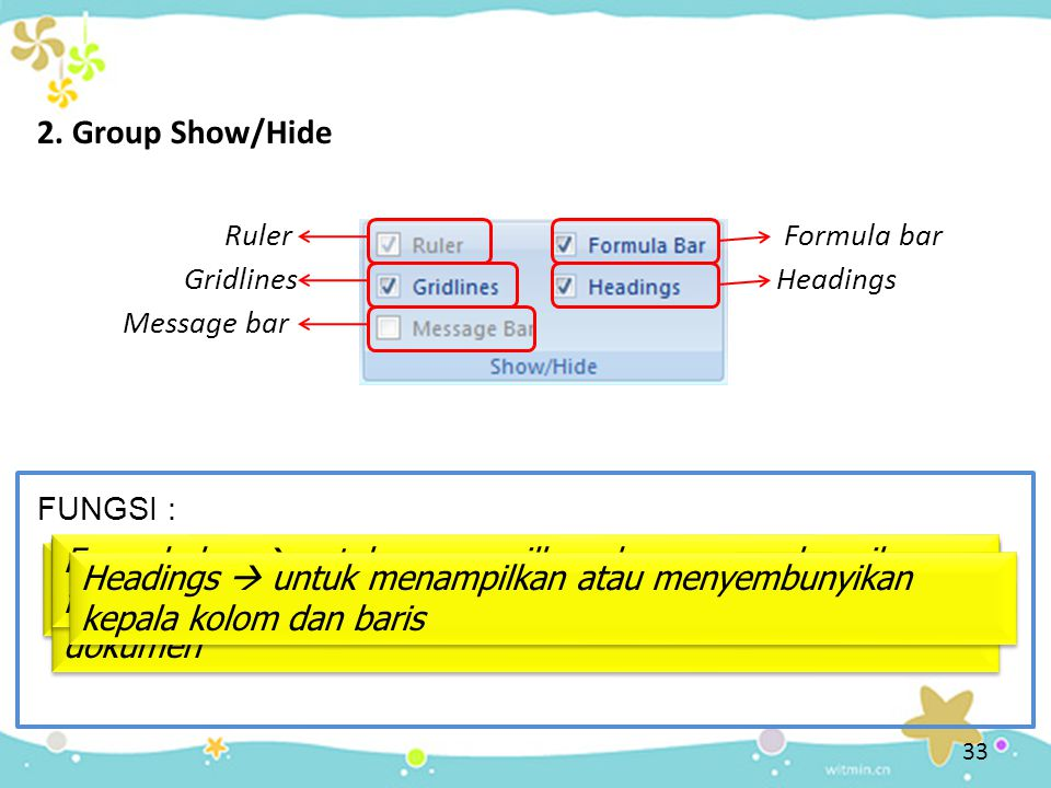 2. Group Show/Hide Ruler. Formula bar. Gridlines. Headings. Message bar. FUNGSI :