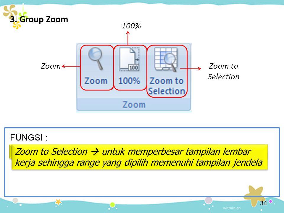 3. Group Zoom Zoom  memperbesar dan memperkecil tampilan dokumen
