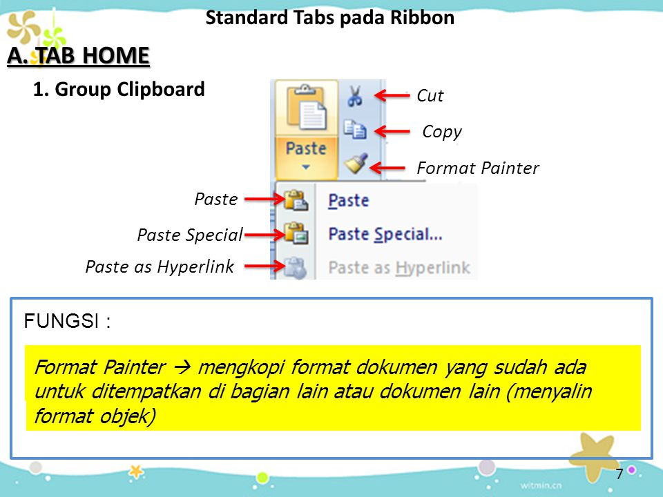 A. TAB HOME Standard Tabs pada Ribbon 1. Group Clipboard Cut Copy