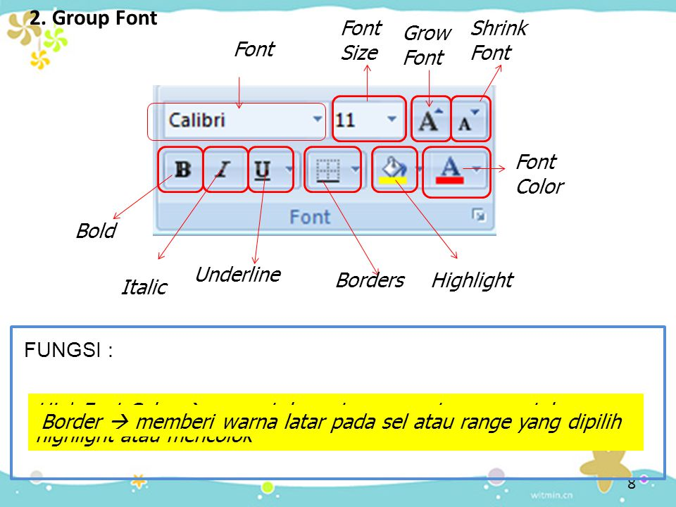 2. Group Font Font Size Shrink Font Grow Font Font Font Color Bold