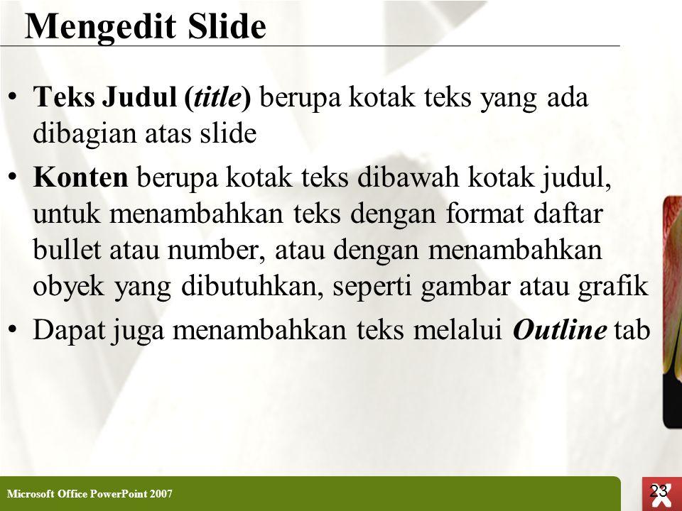 Mengedit Slide Teks Judul (title) berupa kotak teks yang ada dibagian atas slide.