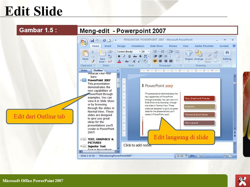 Edit Slide Gambar 1.5 : Meng-edit - Powerpoint 2007