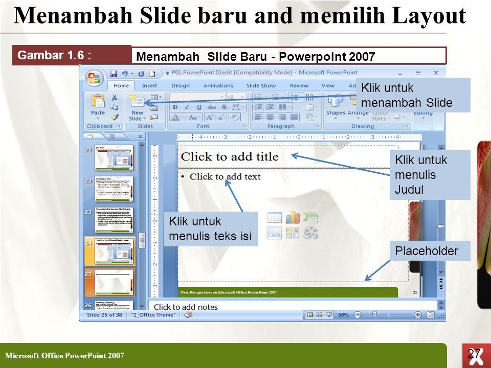 Menambah Slide baru and memilih Layout