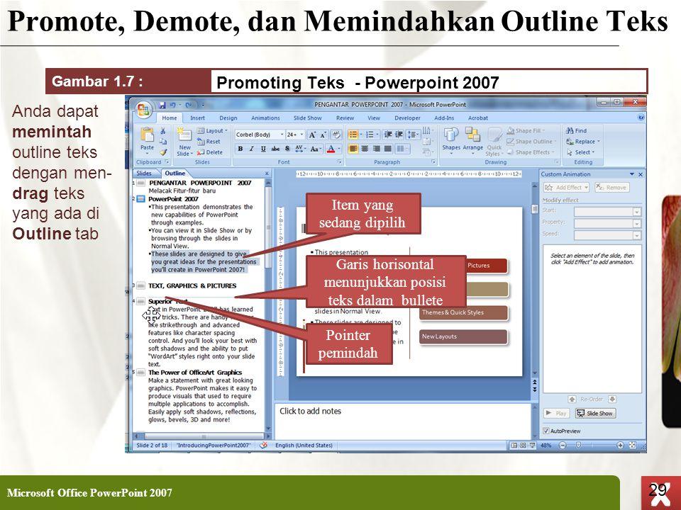Promote, Demote, dan Memindahkan Outline Teks