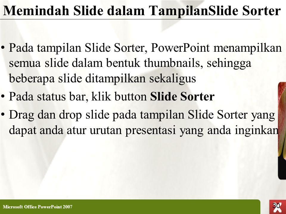 Memindah Slide dalam TampilanSlide Sorter