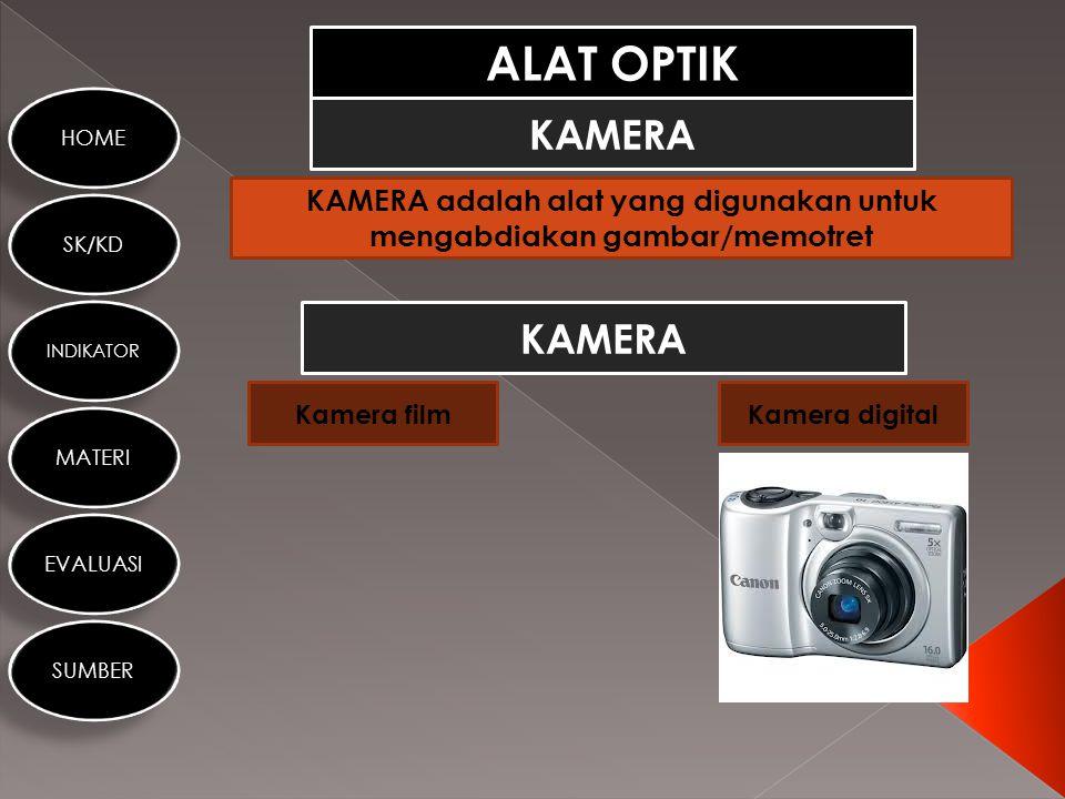 KAMERA adalah alat yang digunakan untuk mengabdiakan gambar/memotret