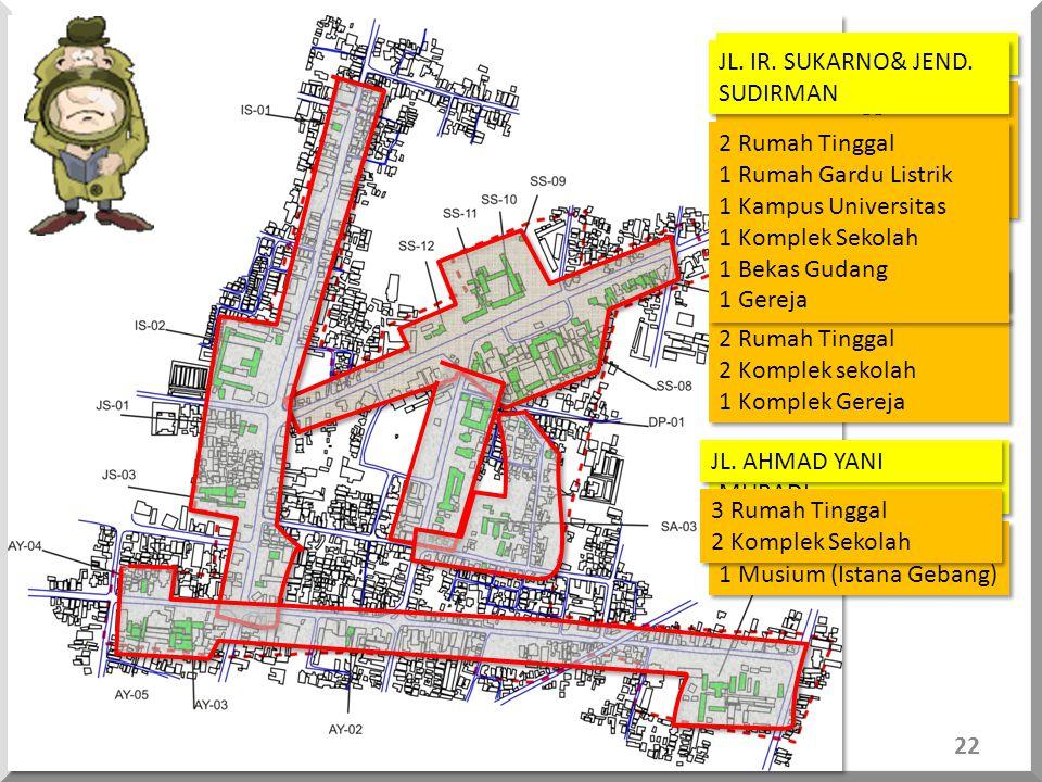 JL. SHODANCO SUPRIYADI JL. IR. SUKARNO& JEND. SUDIRMAN. 7 Rumah Tinggal. 3 Komplek sekolah. 1 Komplek kerohanian.