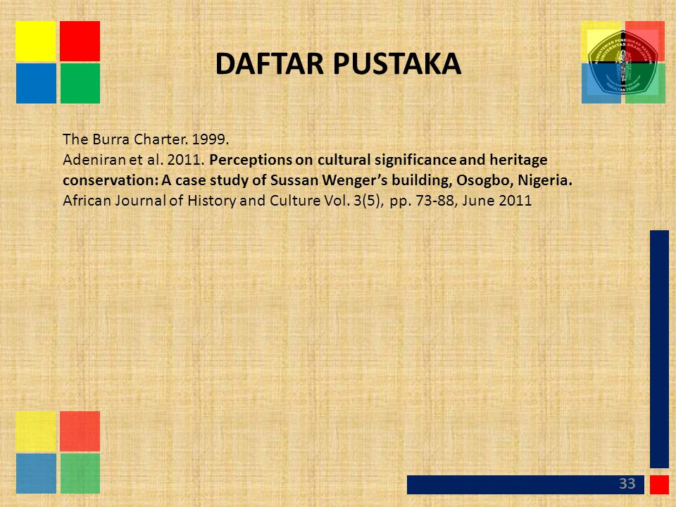 DAFTAR PUSTAKA The Burra Charter. 1999.
