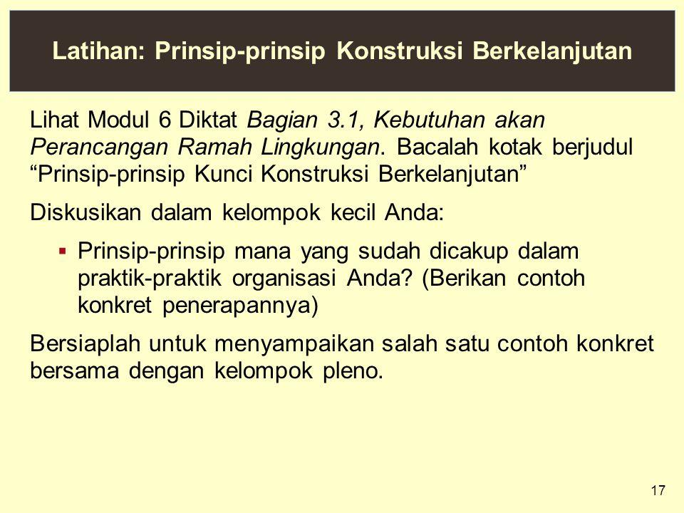 Latihan: Prinsip-prinsip Konstruksi Berkelanjutan