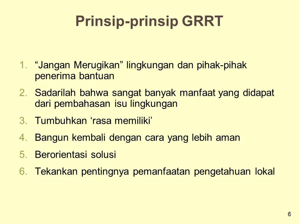 Prinsip-prinsip GRRT Jangan Merugikan lingkungan dan pihak-pihak penerima bantuan.
