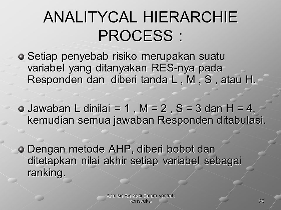 ANALITYCAL HIERARCHIE PROCESS :