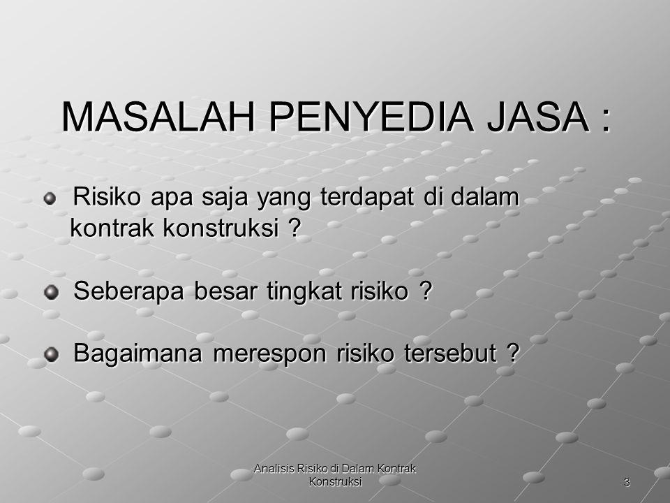 MASALAH PENYEDIA JASA :