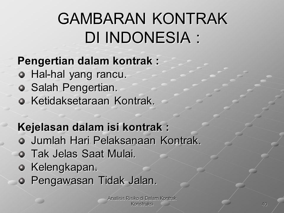 GAMBARAN KONTRAK DI INDONESIA :