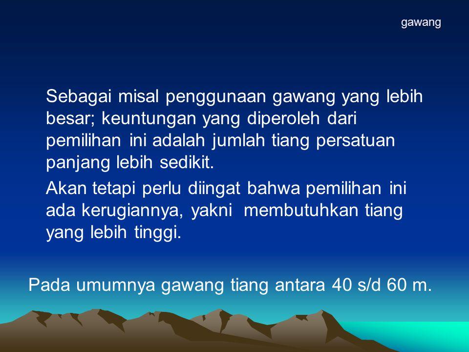 Pada umumnya gawang tiang antara 40 s/d 60 m.