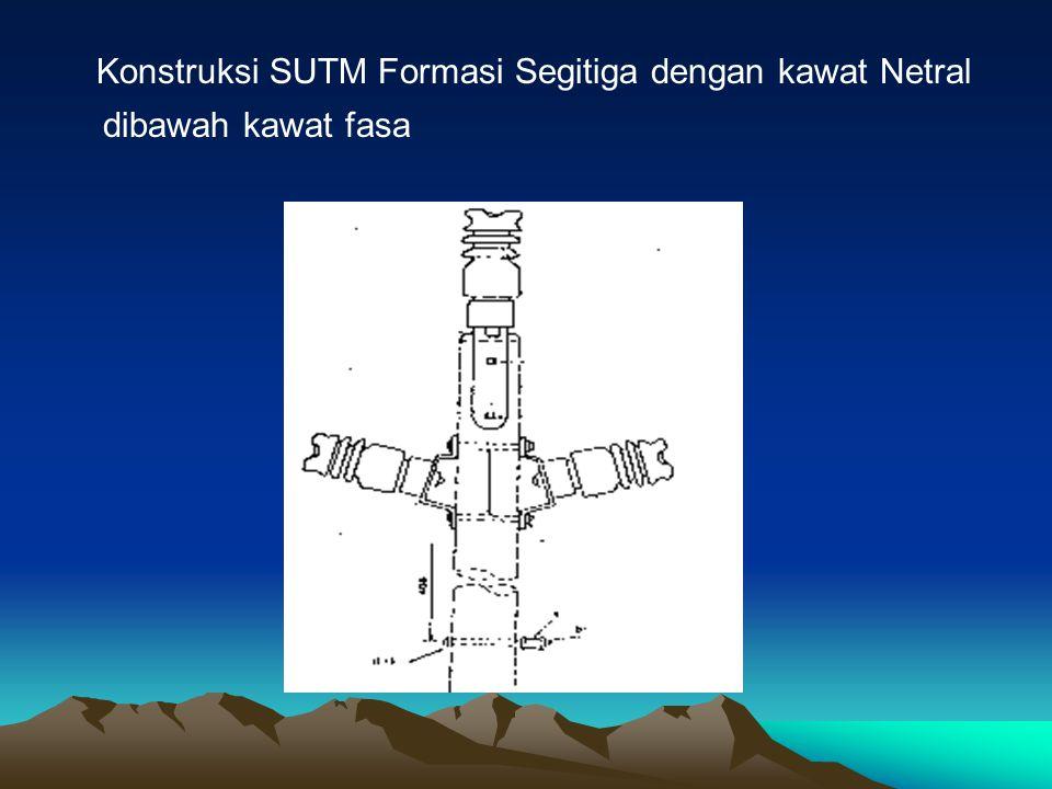 Konstruksi SUTM Formasi Segitiga dengan kawat Netral dibawah kawat fasa