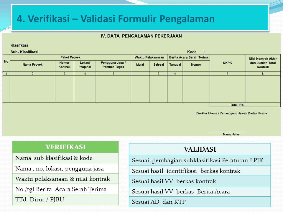 4. Verifikasi – Validasi Formulir Pengalaman