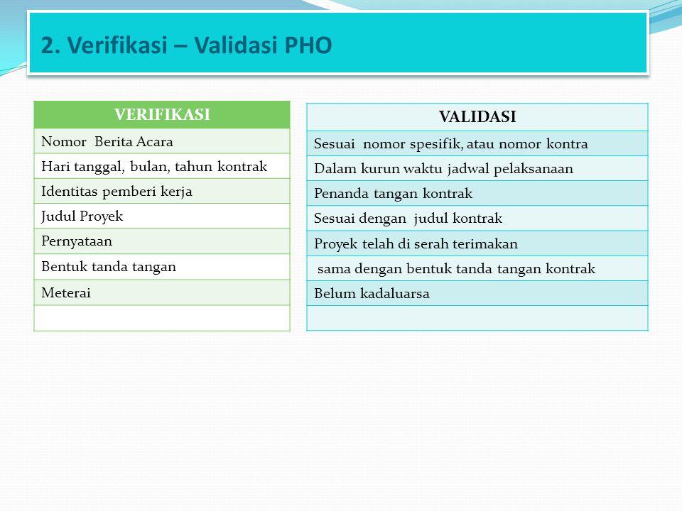 2. Verifikasi – Validasi PHO