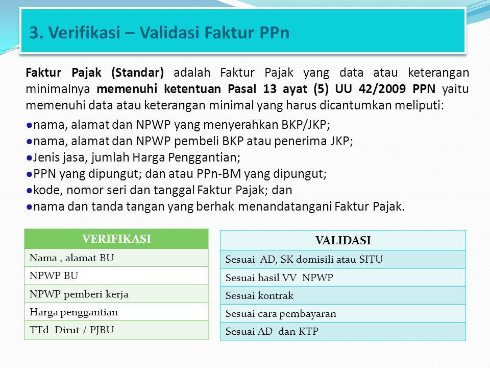 3. Verifikasi – Validasi Faktur PPn