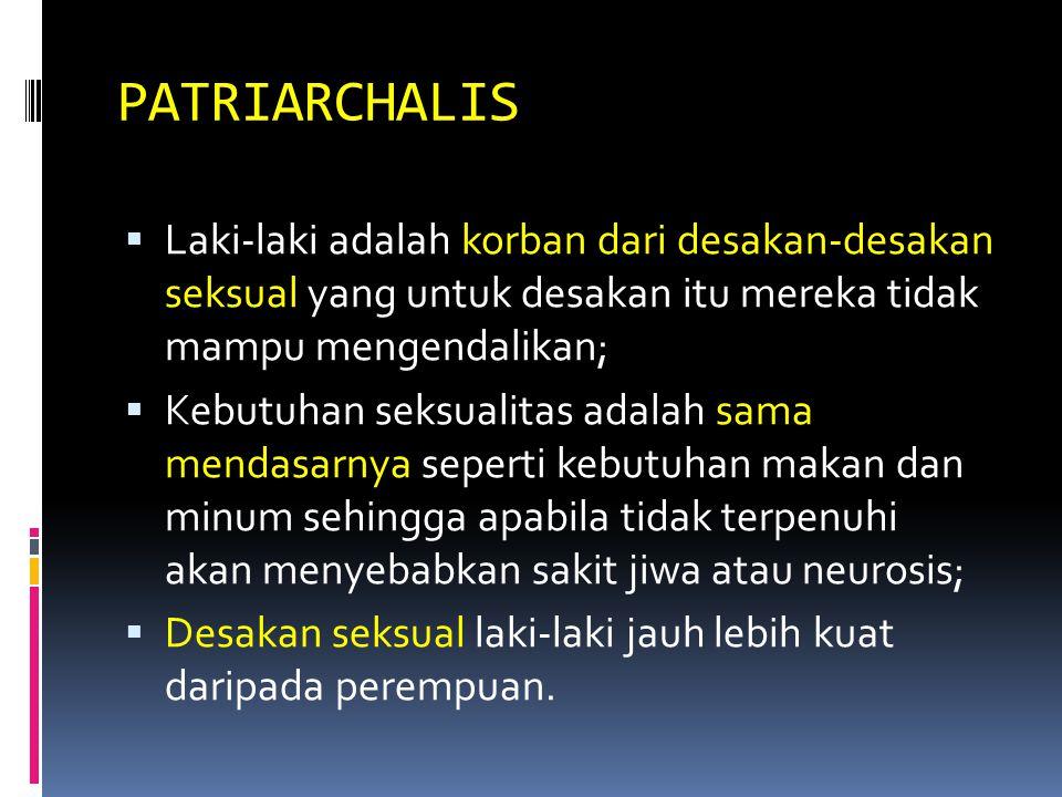 PATRIARCHALIS Laki-laki adalah korban dari desakan-desakan seksual yang untuk desakan itu mereka tidak mampu mengendalikan;
