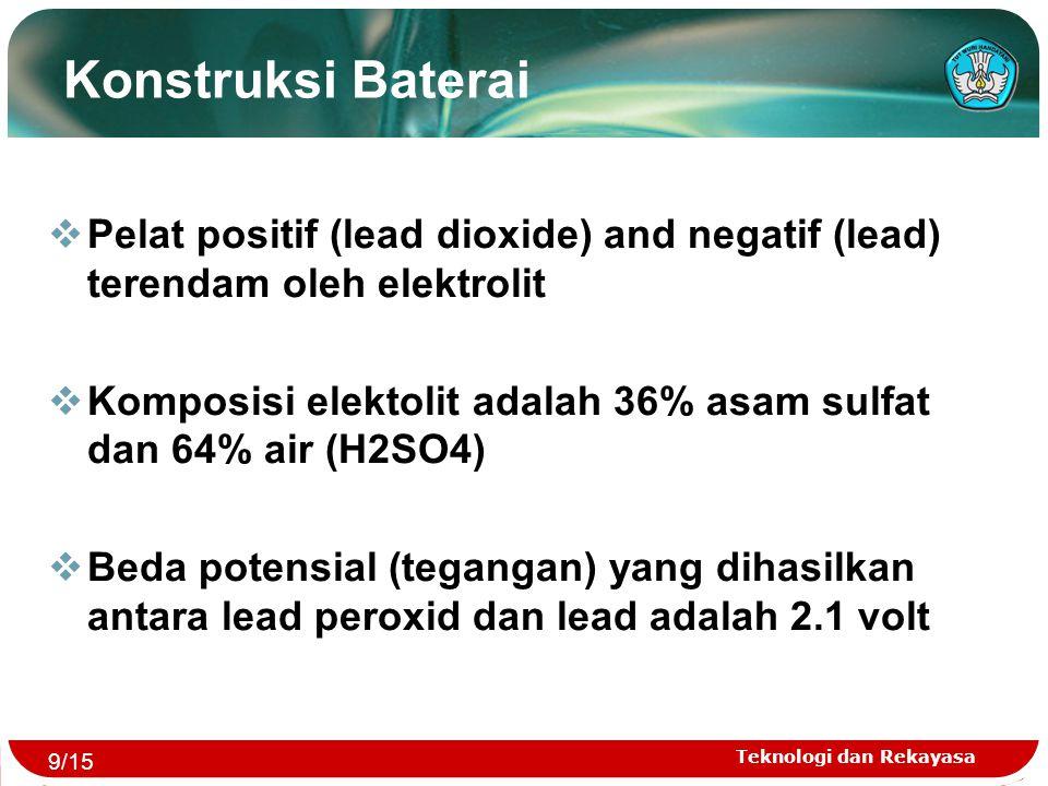 Konstruksi Baterai Pelat positif (lead dioxide) and negatif (lead) terendam oleh elektrolit.