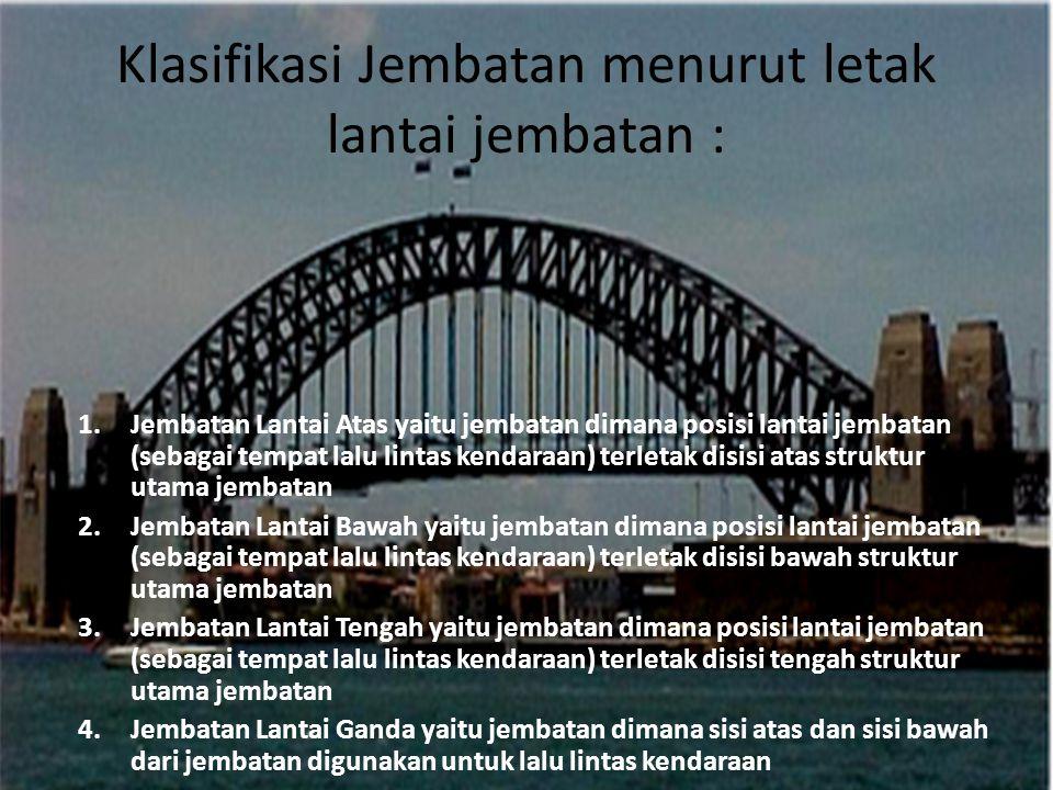 Klasifikasi Jembatan menurut letak lantai jembatan :