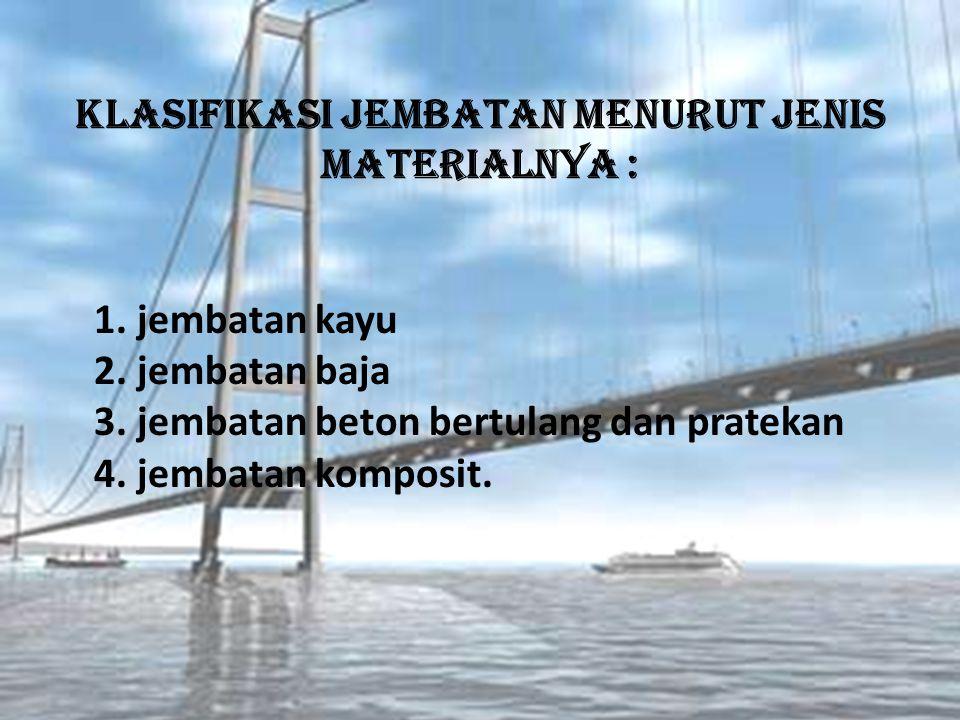 Klasifikasi Jembatan menurut jenis materialnya :