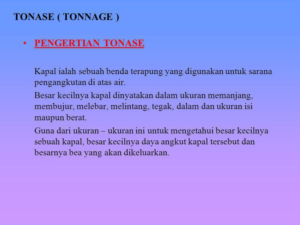 TONASE ( TONNAGE ) PENGERTIAN TONASE
