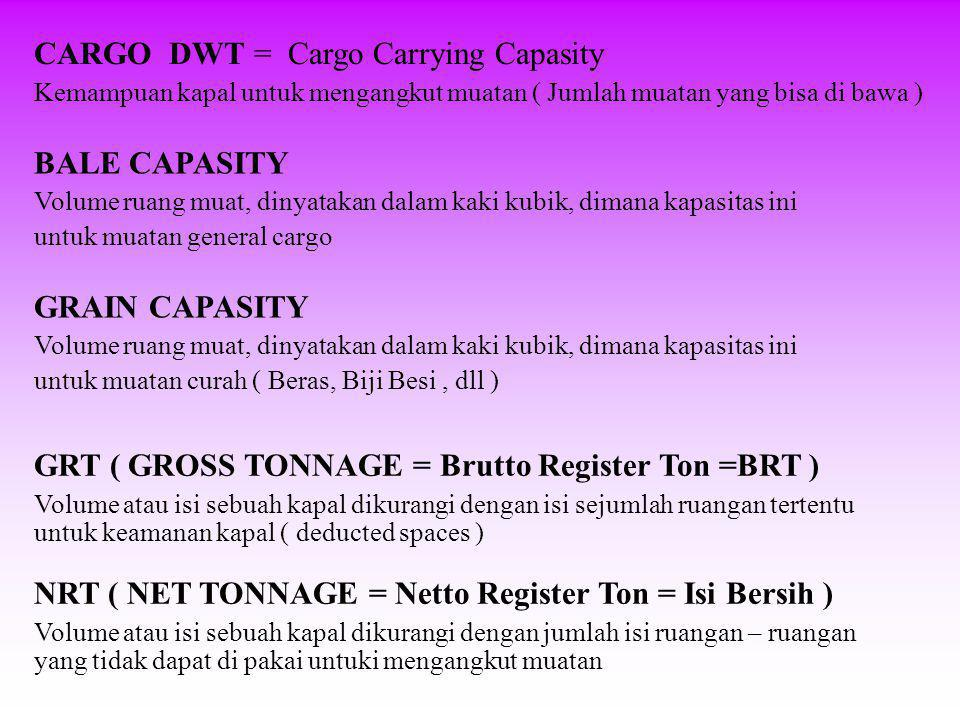 CARGO DWT = Cargo Carrying Capasity