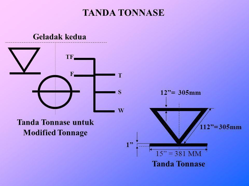 TANDA TONNASE Geladak kedua Tanda Tonnase untuk Modified Tonnage