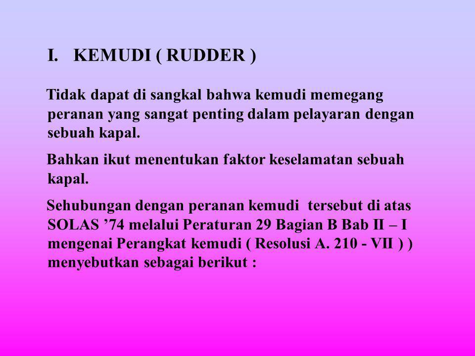 I. KEMUDI ( RUDDER ) Tidak dapat di sangkal bahwa kemudi memegang peranan yang sangat penting dalam pelayaran dengan sebuah kapal.