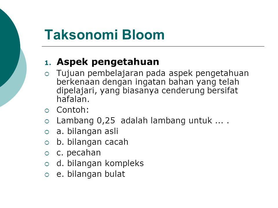 Taksonomi Bloom Aspek pengetahuan