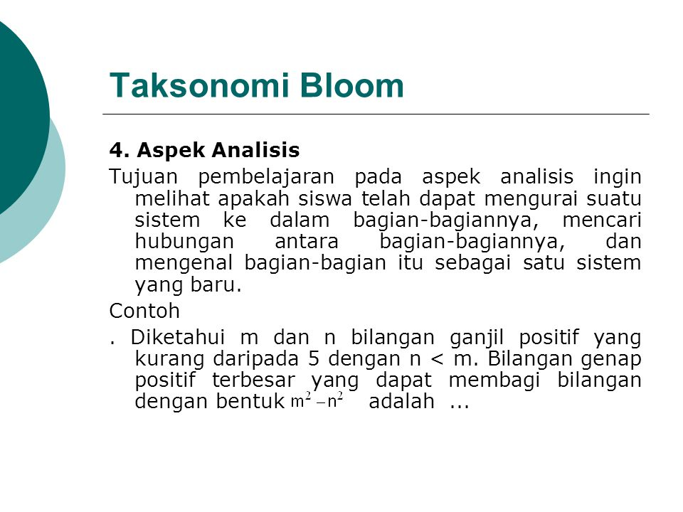 Taksonomi Bloom 4. Aspek Analisis