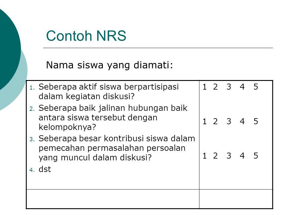 Contoh NRS Nama siswa yang diamati: