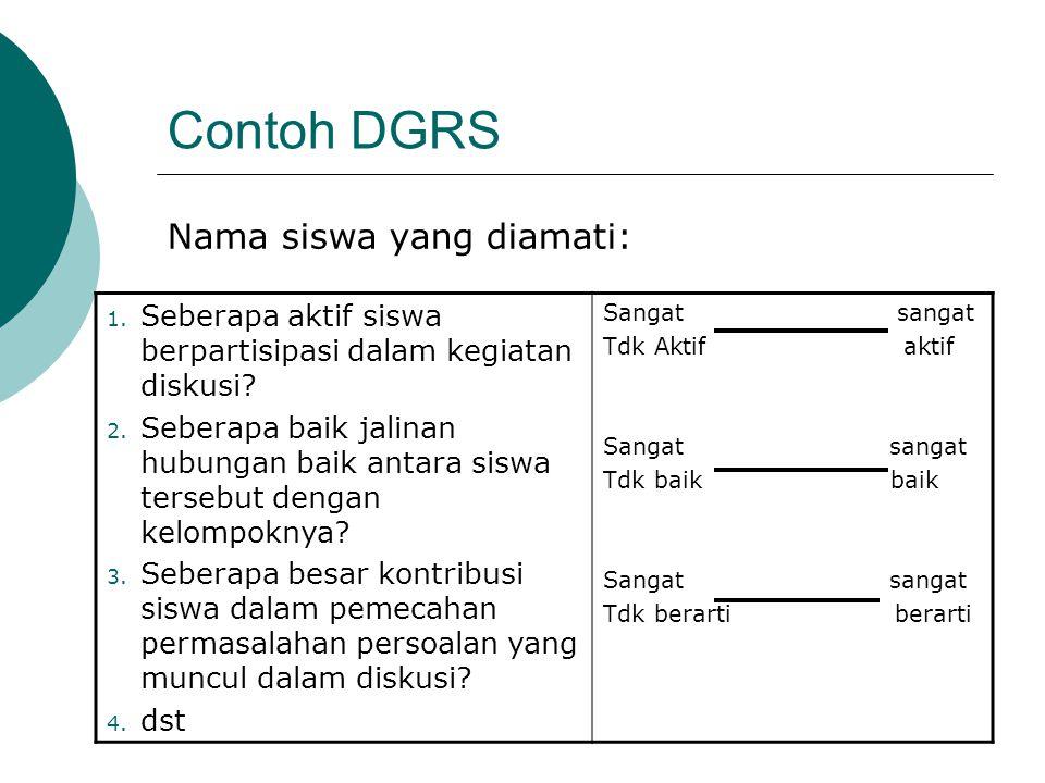 Contoh DGRS Nama siswa yang diamati: