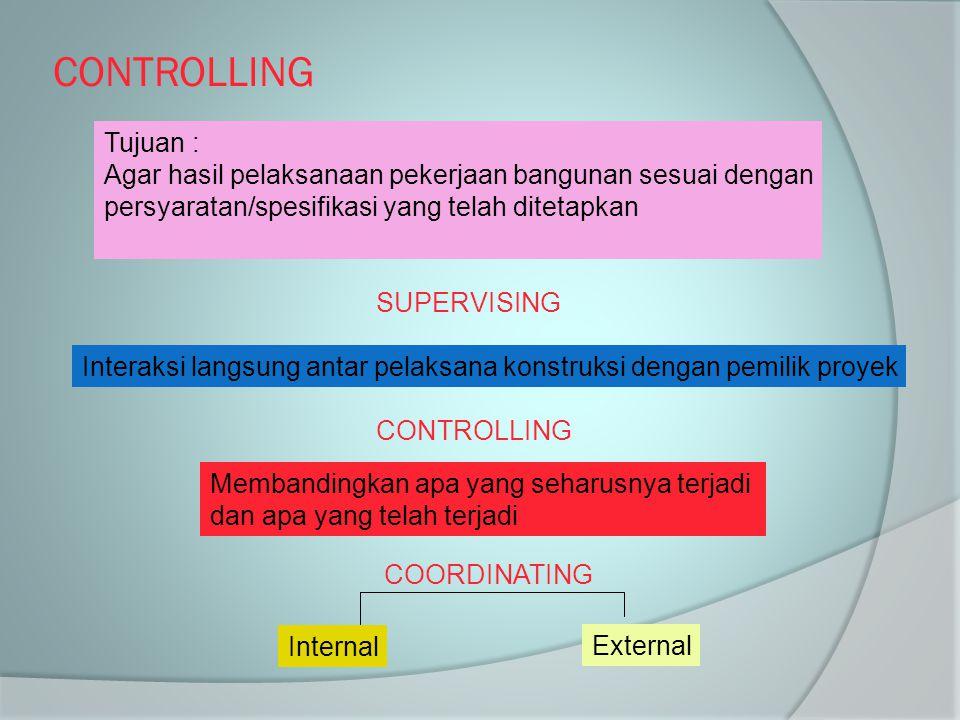 CONTROLLING Tujuan : Agar hasil pelaksanaan pekerjaan bangunan sesuai dengan. persyaratan/spesifikasi yang telah ditetapkan.