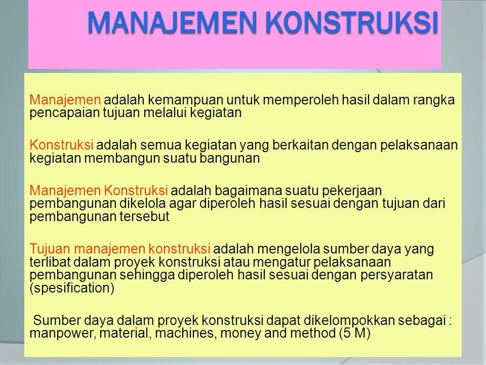 MANAJEMEN KONSTRUKSI Manajemen adalah kemampuan untuk memperoleh hasil dalam rangka pencapaian tujuan melalui kegiatan.