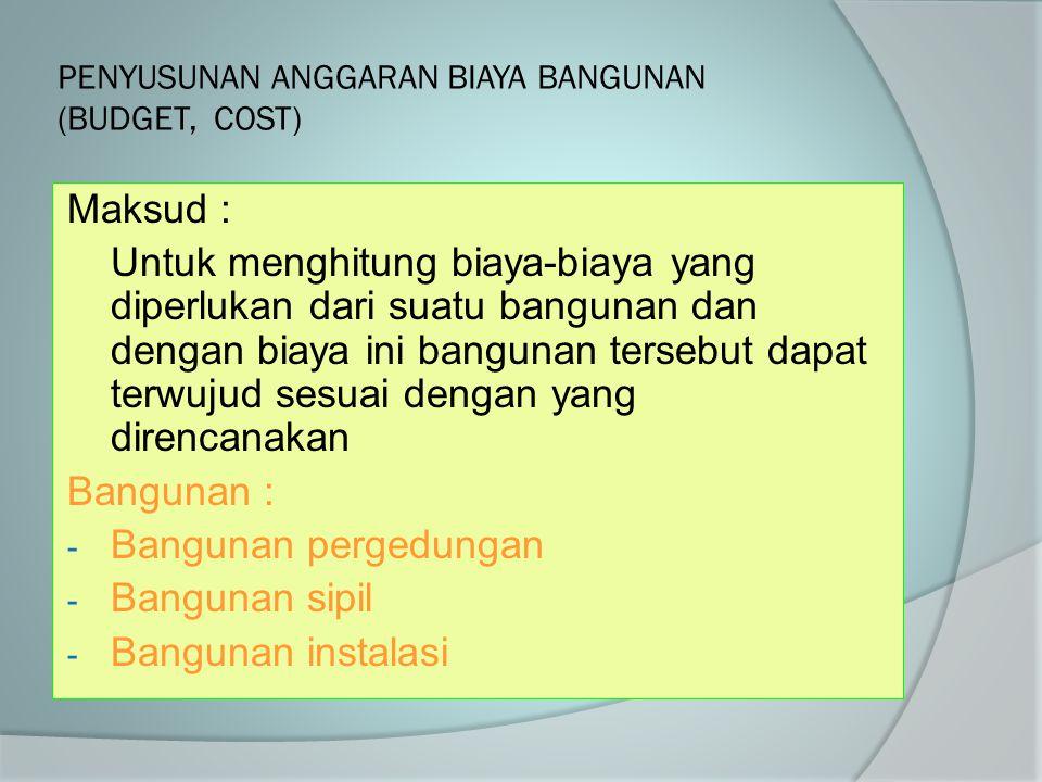 PENYUSUNAN ANGGARAN BIAYA BANGUNAN (BUDGET, COST)