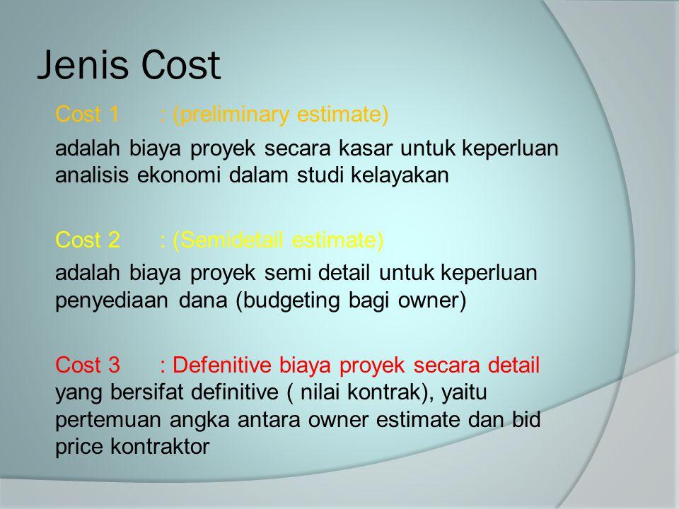 Jenis Cost Cost 1 : (preliminary estimate)