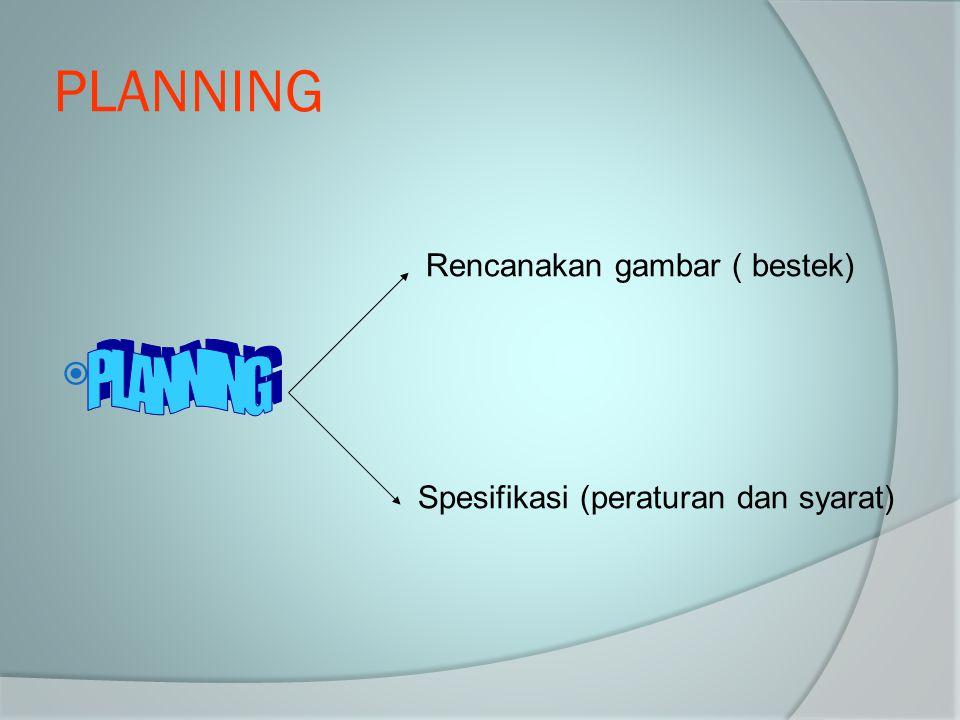 PLANNING PLANNING Planning Rencanakan gambar ( bestek)