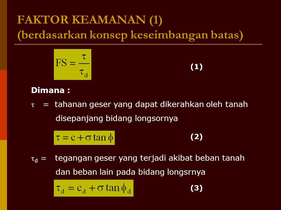 FAKTOR KEAMANAN (1) (berdasarkan konsep keseimbangan batas)